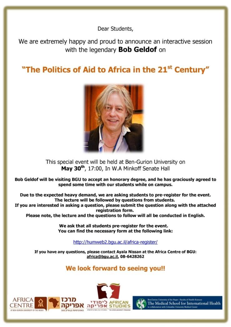 פוליטיקה של הסיוע במאה ה-21: הרצאת אורח של סר בוב גלדוף
