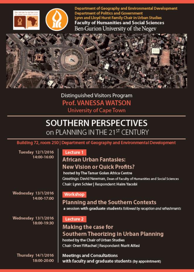 Southern Perspectives on Planning in the 21st Century: הרצאת אורח של פרופ' ונסה ווטסון (אוניברסיטת קייפטאון)